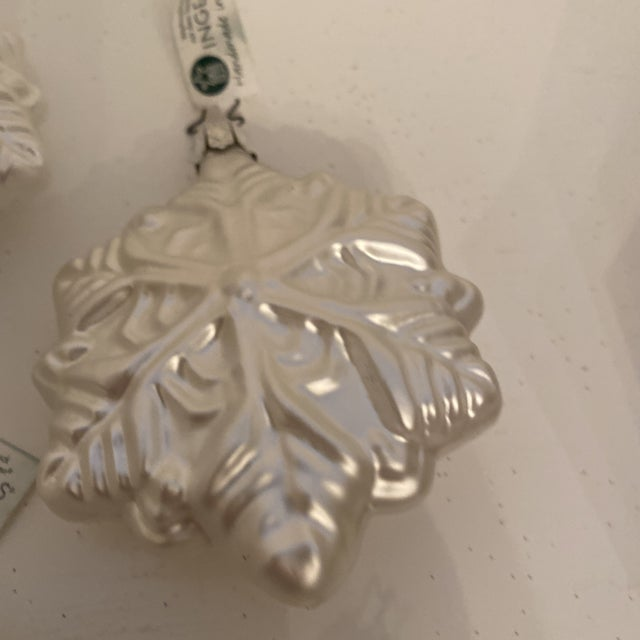 Inge Glass Snowflake Ornaments - Set of 6 For Sale - Image 9 of 13