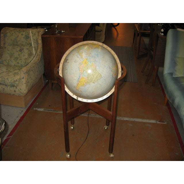 Mid-Century Modern Jens Risom Sculptural Walnut Globe on Casters For Sale - Image 3 of 11