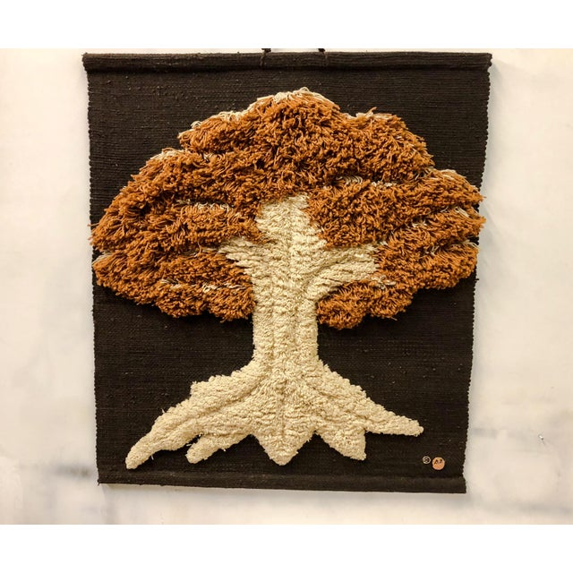 1978 Don Freedman hand woven wall hanging depicting a tree. It is marked and labeled.