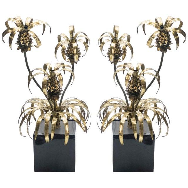 Rare Pair of Hollywood Regency Brass Maison Jansen Pineapple Floor Lamps, 1970s For Sale - Image 13 of 13