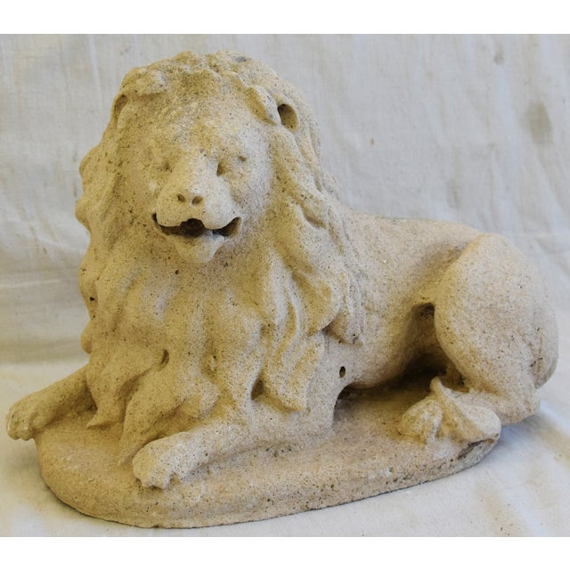 Antique French Sandstone Lion Statue Figure For Sale - Image 11 of 13