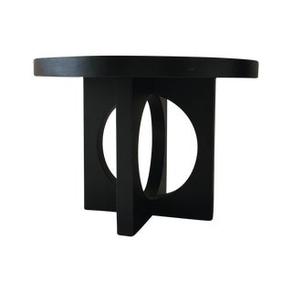 West Elm Black Round Cut Out Dining Table