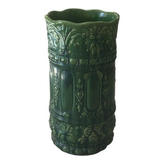 Green Majolica Umbrella Stand