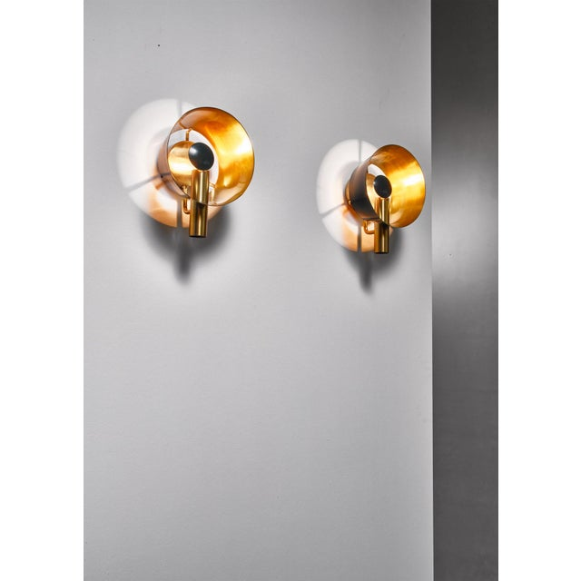 Lyfa Pair of Brass Lyfa Wall Lamps, Denmark, 1960s For Sale - Image 4 of 5