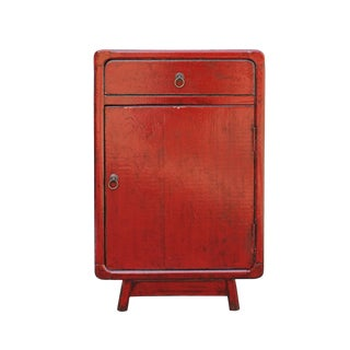 Distressed Red Lacquer Drawer Retro End Table Nightstand For Sale