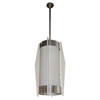 Art Deco White Glass Cylinder Hanging Light For Sale