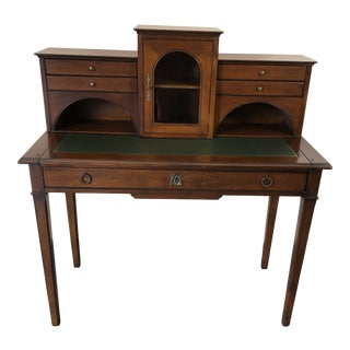 French Cherry Writing Desk With Green Tooled Leather For Sale