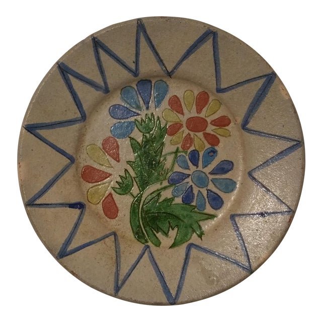 Vintage Decorative Portuguese Floral Plate - Image 1 of 7