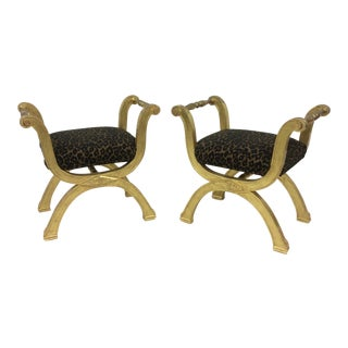 Gold Cross Legged Benches - a Pair