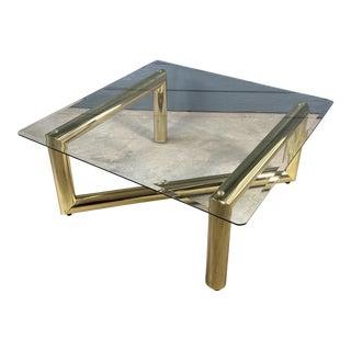 Vintage Hollywood Regency Tubular Brass Glass Coffee Table For Sale