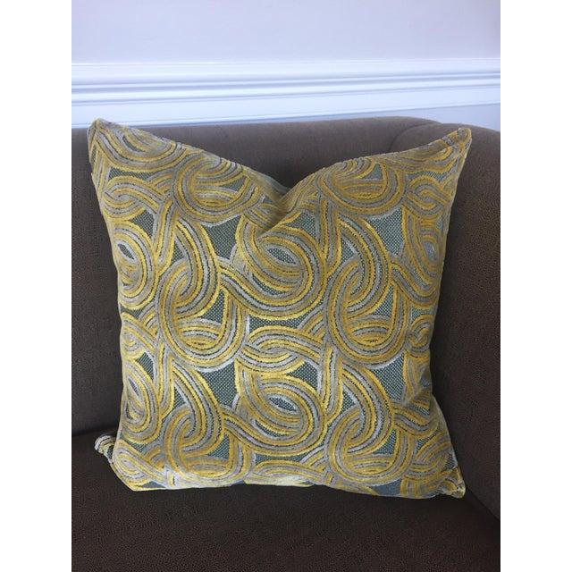 FirmaMenta Italian Damask Green & Yellow Velvet Pillow - Image 3 of 6