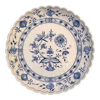 German Round Scallop Blue Onion Pattern Meissen Plate For Sale
