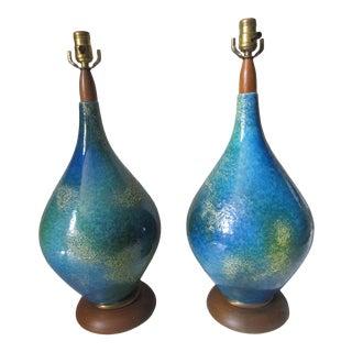 Mid Century Lava Glaze Lamps - a Pair For Sale