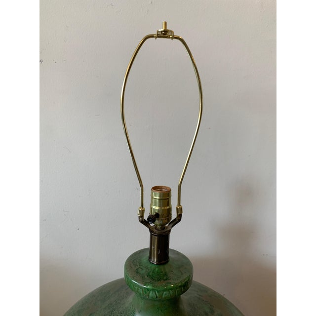 Mid 20th Century Mid-Century Modern - Green Hand Glazed Ceramic Lamp With Linen Shade For Sale - Image 5 of 10