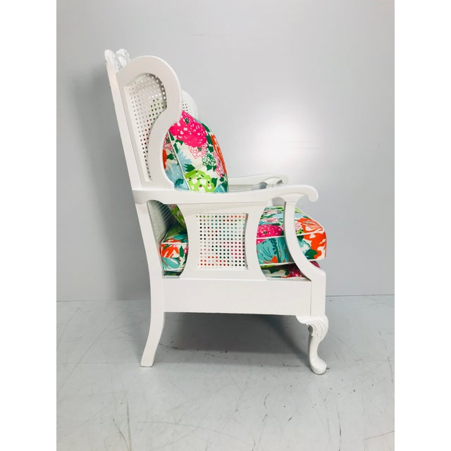 Hollywood Regency Vintage Caned Wing Chair With Lilly Pulitzer Outdoor Fabric For Sale - Image 3 of 8