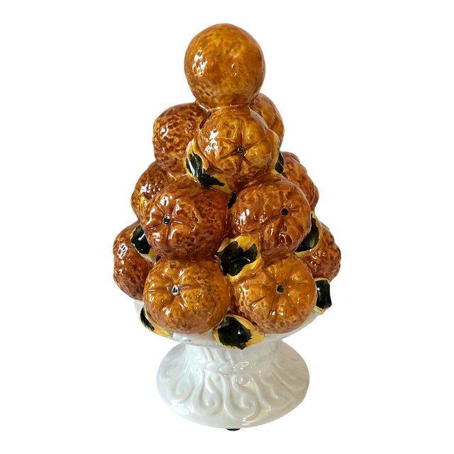 Vintage Italian Pottery Oranges Topiary For Sale