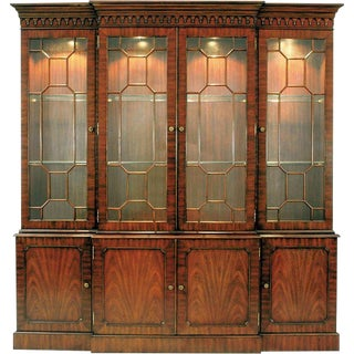 Mahogany Breakfront Lighted China Cabinet, Glass Shelves Light Antique Brass Mounts For Sale