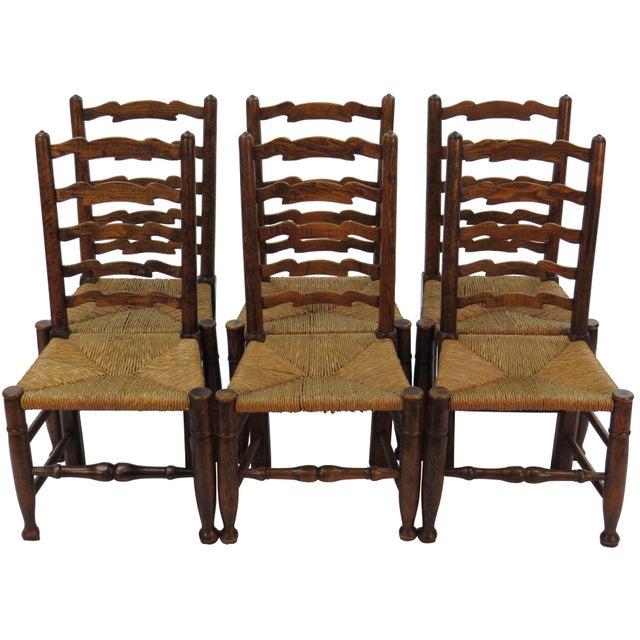 1940s Vintage English Oak Ladder Back Dining Chairs Set Of 6