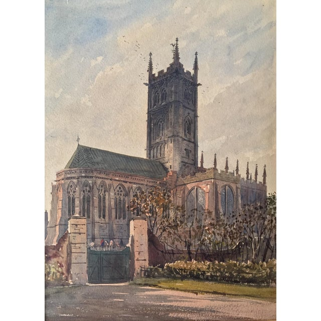 English Church Watercolor Painting by Axel Haig For Sale - Image 4 of 8