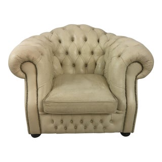 Vintage Leather Chesterfield Chair For Sale