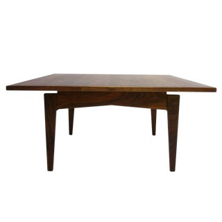 Gorgeous Utilitarian Dark Walnut Jens Risom Floating Transitional Coffee Table For Sale