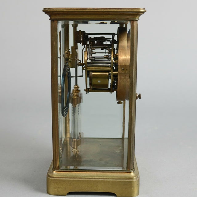 Late 19th Century Antique Tiffany & Co. Crystal and Brass Regulator Mantel Clock, circa 1890 For Sale - Image 5 of 9