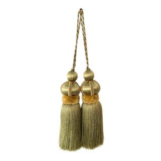 Pair Olive Green Key Tassels With Cut Ruche For Sale