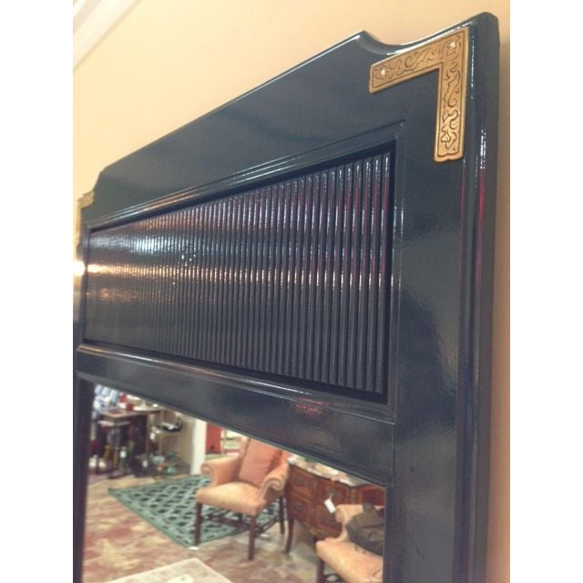 Teal Lacquered Mirror with Brass Trim - Image 2 of 4