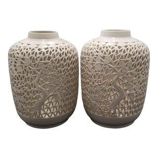Blanc De Chine Hand-Perforated Cherry Blossom Vases - a Pair For Sale