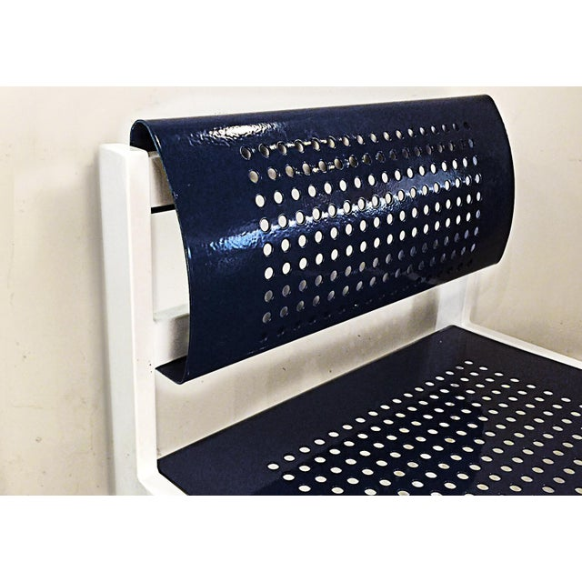 Modern Set of 4 Modern Steel Patio Chair With Perforated Design, Refinished For Sale - Image 3 of 6