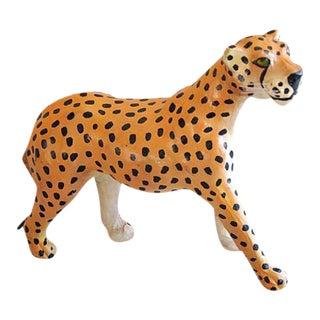 Hand Painted Vintage Leather Cheetah