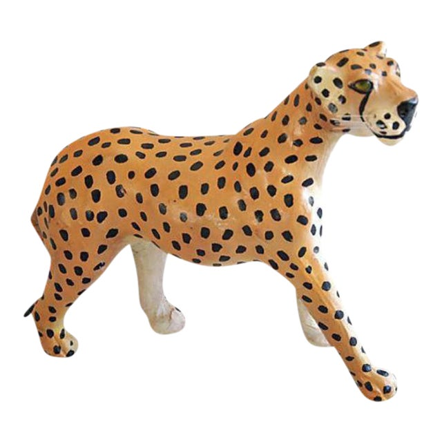Hand Painted Vintage Leather Cheetah For Sale