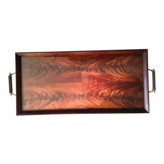 Antique Glass Top Serving Tray With Handles For Sale