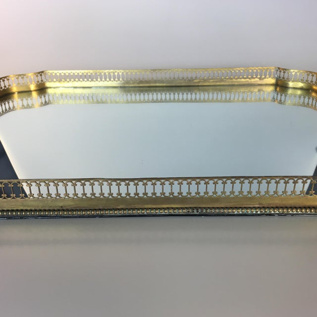 Mirrored Gold Reticulated Plateau Tray For Sale - Image 4 of 5
