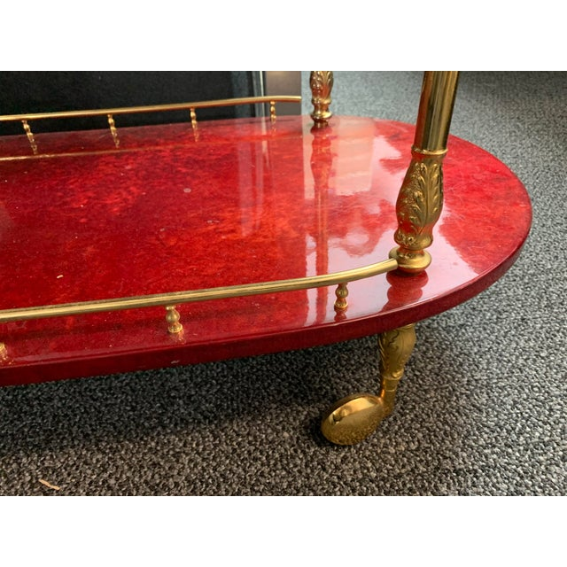 Paint 1950's Goatskin Red Aldo Tura Bar Trolley Cart For Sale - Image 7 of 13