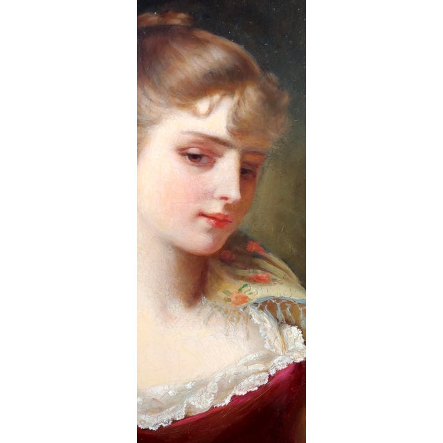 """19th Century Gustave Jean Jacquet """"Portrait of an Elegant Young Lady"""" Oil Painting For Sale - Image 4 of 11"""