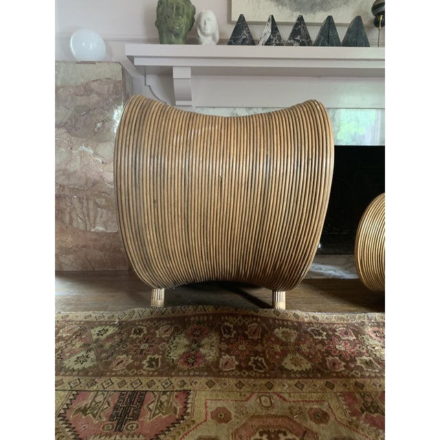 Sculptural Pencil Reed Bamboo Ear Lounge Chair For Sale - Image 10 of 13