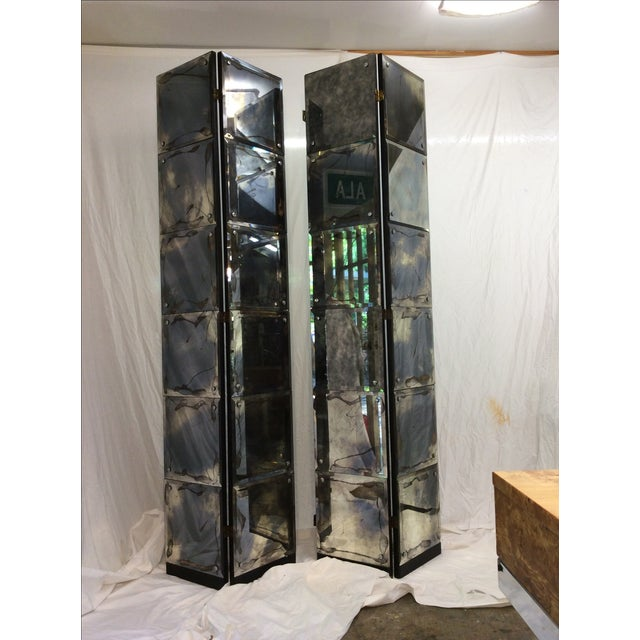 Mid-Century Modern Mirrored Four-Panel Screen - Image 2 of 11