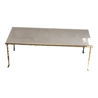1940s Madison Bagues French Guilt Bronze & Pale Marble Coffee Table