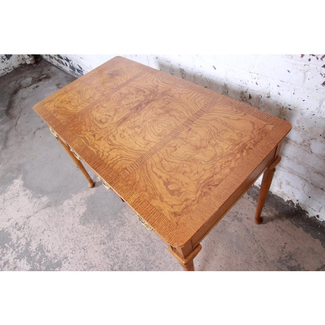 Baker Furniture Queen Anne Burl Wood Writing Desk For Sale In South Bend - Image 6 of 13