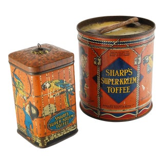 Pair of Sharp's Super-Kreem Toffee Tins For Sale