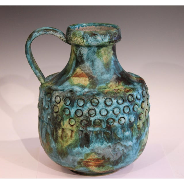 "Large vintage Alvino Bagni pottery pitcher jug in terrific Sea Garden glaze, circa 1960's. 12"" high, 10"" over handle, 9""..."