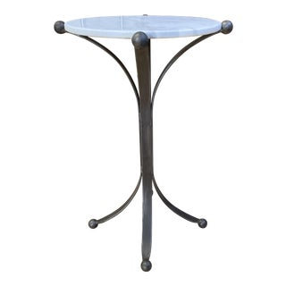 New Restoration Hardware Custom Design Jack Marble + Iron Large Side Table For Sale