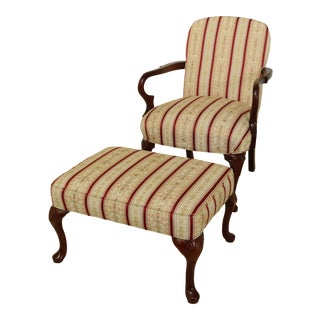 Hickory Chair Co Queen Anne Mahogany Chair & Ottoman For Sale