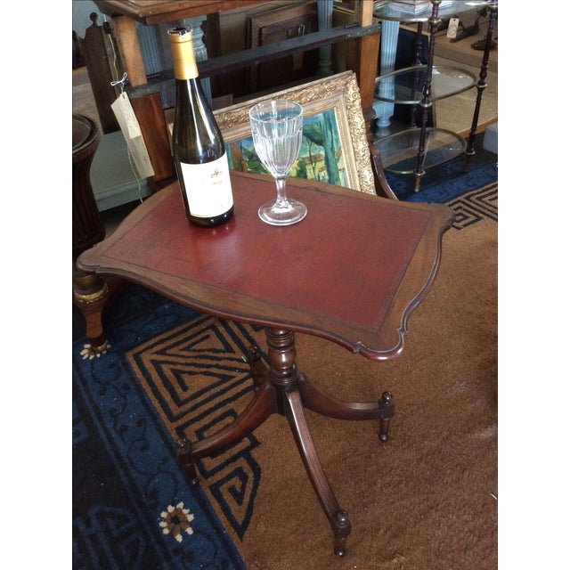 Antique English Leather Tilt Top Side Table - Image 5 of 6