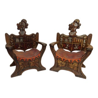 Pair of English Antique Oak and Leather and Knight U Shaped Chairs For Sale