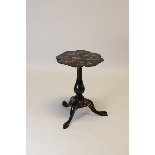 Charming Victorian papier mache side table with mother of pearl inlay. This petite table would serve as the perfect...