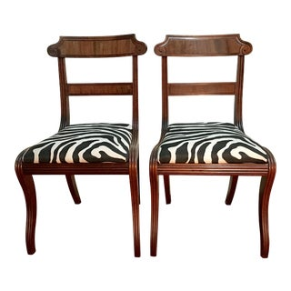 19th Century Georgian Regency Zebra Print Mahogany Side Chairs - a Pair
