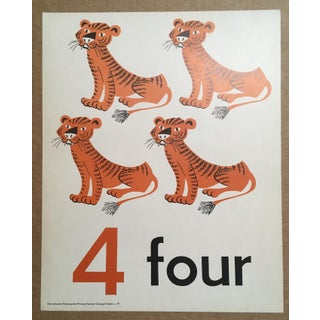 """Vintage Mid Century Teaching Poster, Numbers - """"4"""" Preview"""