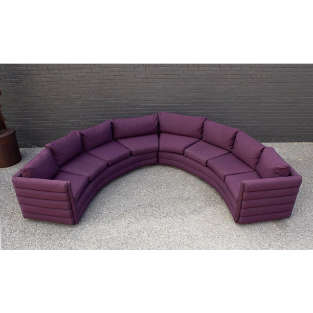 Milo Baughman for Thayer Coggin 1970s Channel Back Semi-Circular Sectional Sofa For Sale - Image 9 of 12